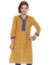 Shop Avenue Women's Cotton Regular Fit Kurti (WGS07110, Yellow, XX-Large)