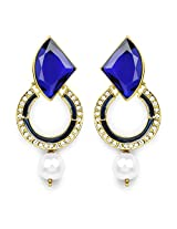 Blue Stone, Gold Synthetic Pearl & White Stone Blue Enamel Gold Plated Chandbali Shape Dangle Earrings