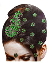 DollsofIndia Golden and Green Color Stone Studded Stick-on Hair Decoration (Can Be used on Other Parts of the Body) - Stick-on Hair Decoration - Green