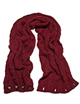 Dahlia Women's Cable Knit Infinity Scarf - Button - Red