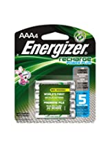 Energizer EVENH12BP4 Recharge Power Plus AAA 700 mAh Rechargeable Batteries, Pre-Charged, 4 Count