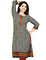 Long Anarkali Long Printed Embroidery Kurtis(Size : XXX-Large)