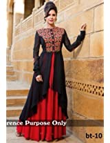 Shree Fashion Woman's Georgette With Dupatta [Shree (85)_Black]