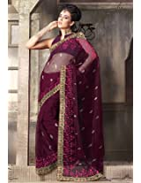 S0007 One Star Net Wine Sarees | Color Green