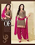Brown Cotton Top With Santoon Bottom & Chiffon Dupatta Embroidery With Print Work Punjabi Patiala Salwar Suit