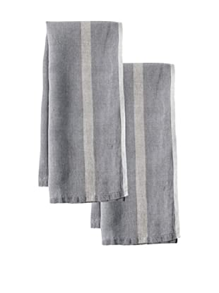 Couleur Nature Set of 2 Laundered Linen Tea Towels, Grey/Natural