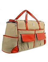 Lencca Executive Alpaque Overnight Duffel Bag (Raw Beige / Vivid Orange)