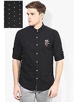 Black Printed Slim Fit Casual Shirt Ed Hardy