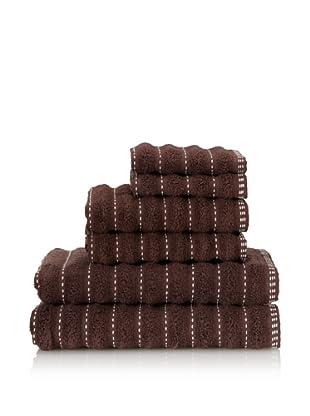 Famous International Stitches 6-Piece Towel Set (Hot Fudge/Ivory)
