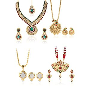 Set Of 1 Necklace Set,1 Rani Haar, 2 Pendant Set