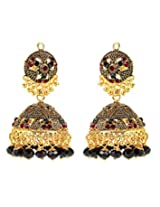 Antique Look Black Beaded Jhumkas by GoldNera for Women