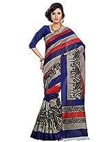 Riti Riwaz Blue Bhagalpuri Silk saree with unstitched blouse LNY6114B