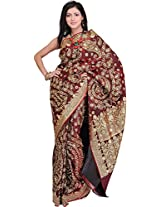 Exotic India Cordovan Bridal Saree from Banaras with Metallic Thread Embro - Red