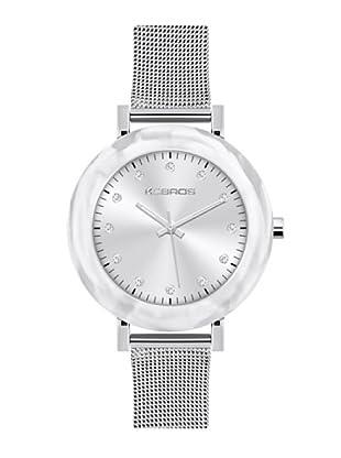 K&BROS 9183-2 / Reloj de Señora  con brazalete metálico blanco
