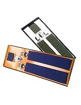 Sunshopping men's Navy blue and dark green suspender(WSDWSDSC00018) (Navy blue and dark green)