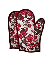 ShalinIndia Cotton Oven Mitts Printed Set of 2 Quilted Cooking Gloves,OG02-2712,Wine,8 x12 Inch