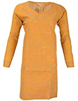 PR Chikans Women's Poly Cotton Kurti (Yellow, X-Large)