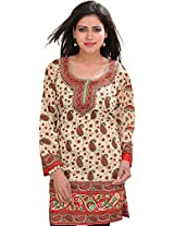 Exotic India Casual Kurti with Printed Paisleys - Color RedGarment Size Free Size