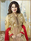 Fabulous Juhi Chawla Cream Georgette Floor Length Anarkali Suit