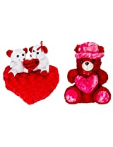 Glitters Cap-Heart Red Teddy & Couple Combo