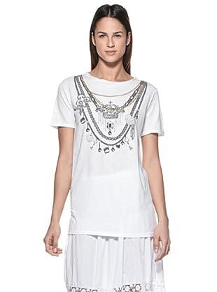 Crema Camiseta Print Collares (Blanco)