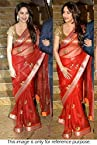 Bollywood Replica Maduri Dixit Net Saree In Red and Gold Colour NC753