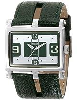 Eos New York Eos New York Unisex 119Lgrn Slit Green Leather Strap Watch - 119Lgrn