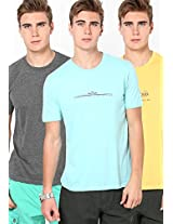 Assorted Slim Fit Crew Neck T Shirt(Pack Of 3)
