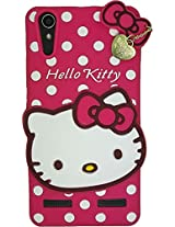 AE Cute Hello Kitty 3D cartoon Silicone With Pendant Back Case Cover For LENOVO A6000/6000PLUS PINK