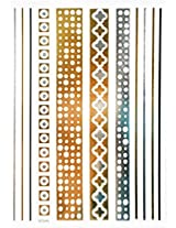 Spestyle New Design Hot Selling Golden Gold & Silver & Black Metallic Temporary Tattoos Stickers Jewelry Fashion Design