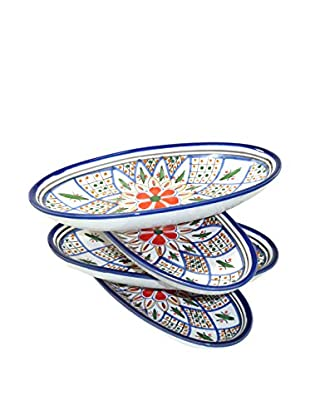 Le Souk Ceramique Tabarka Set of 4 Small Oval Platters, Multi