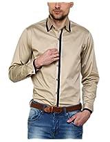 See Designs Men Buttoned Shirt (SDMDWSS15SH178_L, BEIGE, L)