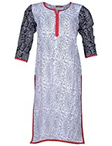 Bunkaari India Women's Cotton Regular Fit Kurti (00LK 27_36, White and black, 36)