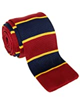 "Retreez Casual Preppy Wide Stripes Men's 2.4"" Skinny Knit Tie - Navy Blue and Yellow and Burgundy"