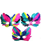 Assorted Multicolored Eye And Nose Feather Mask (Set Of 5)