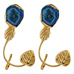 Leaf Shaped Gold Plated Blue Solar Gemstone Ear Cuffs Earrings For Women