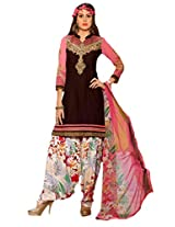Inddus Women Brown & Pink Embroidered Cotton Blend Dress Material