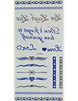 Spestyle Temporary Jewelry Tattoos Blue And Silver And Black Metallic Jewelry Tattoos Jewelry Chain, Love, Dont Forget To Love Yourself, Heart.