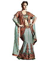 Anvi Creations Net Chiffon Jequard Turquoise Embroidered Lehenga Choli Ghagra saree (Turquoise_Free Size)
