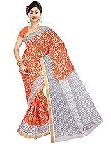 Parichay Women's Kerala Cotton Saree(Orange, White)