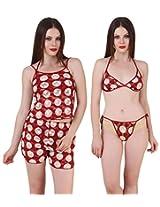 Fasense Exclusive Women Babydoll 4 Pc Set, Top, Shorts, Bra & Thong FA053 (Large, Maroon)