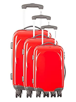 Platinium Set 3 Trolleys 4 Ruedas Ica (Rojo)
