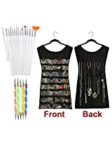 Combo Offer of 5 Pcs Nail Dotting Marbelizing Tool Set + 15 Pcs Nail Art Brush Set + Hanging dress shape Jewellery and Accessories Organiser. Nail Decoration Stamping. A nice gift for Girls and women.