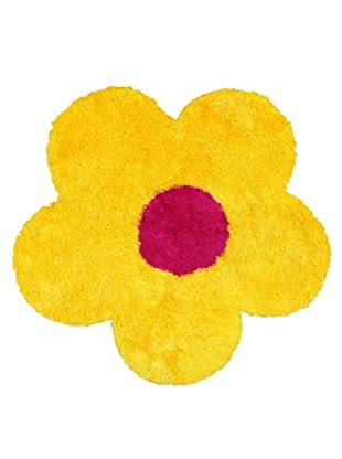 Trade-Am Senses Shag Flower Rug, Yellow, 4' Round