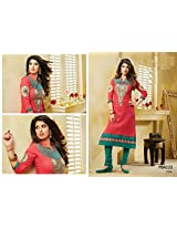 Fabboom New Red And Green Designer Cotton Straight Cut Suit With Long Sleeve