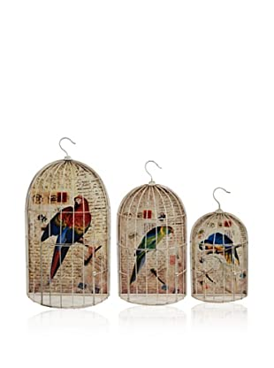 Set Of 3 Wire Bird Cages (Multi)