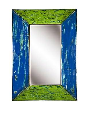 Foreign Affairs Reclaimed Boat Wood Mirror Hijau, Rectangular, Blue/Green