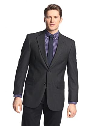 hickey Men's 2 Button Side Vent Solid Sportcoat (Charcoal)