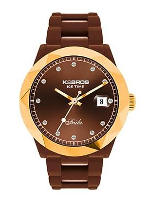 K&BROS 9555-5 / Reloj de Señora con correa de caucho marrón