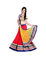 Clickedia Women Net Red yellow beautiful Full Kali Gheraa lehenga With Dupatta and Blouse piece